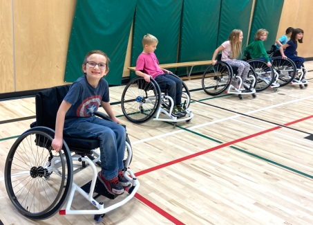 kids in PE wheelchair
